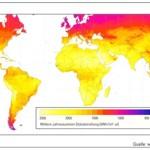 (Anmerkung:1000 kWh/m² entsprechen ca. 86 Kilolangley, bzw. 3600 MJ/m²)