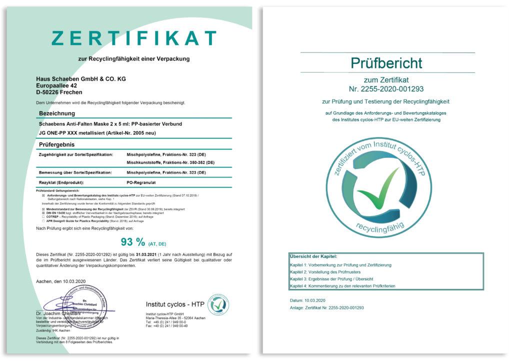 Zertifikat Recyclingfähigkeit und Prüfbericht
